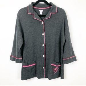 DKNY Pajamas Gray Flannel w/Pink Trim XL